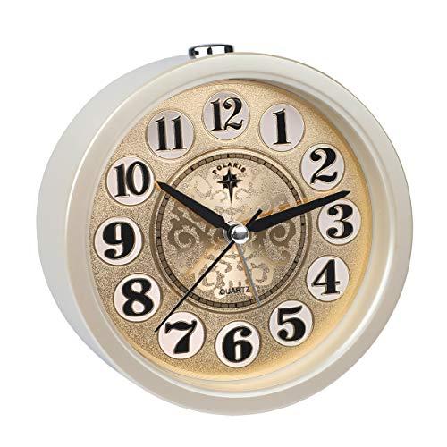 Ayybboo Reloj Despertador Analógico, Imitacion Madera Retro Redondo Despertador Silencio Sin Tictac...