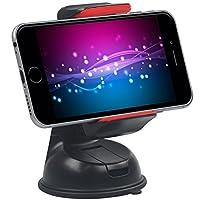 بروميت حامل سيارة لأأجهزة الموبايل والجي بي إس متوافق مع آيفون, سامسونج, إل جي, سوني - لون أحمر