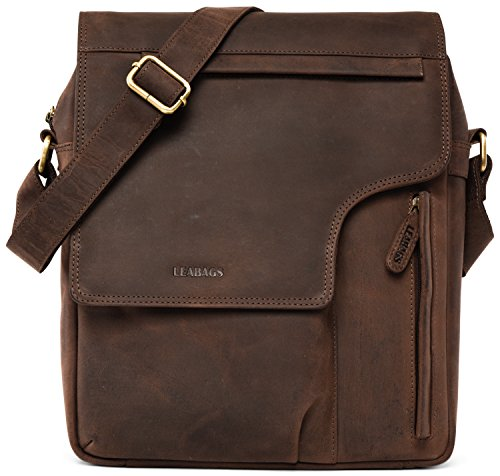 LEABAGS Amsterdam genuine buffalo leather messenger bag in vintage style - Nutmeg