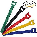 50 Stück Schwarz Kabel-Klettband Kabelklett Kabelbinder Klettbinder Klettverschluss Büro (01, ONE SIZE)