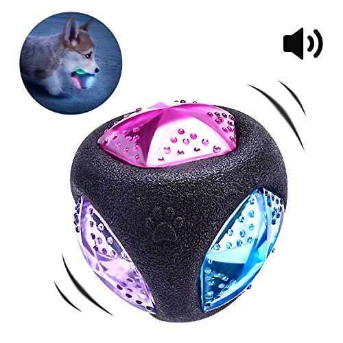 PEDOMUS Palla Giocattolo per Cani con Luce LED e Squeaker, Giocattolo per Cani, Pallina per Cani, Gioco per Cani, Si Illumina in Diversi Colori, in Gomma termoplastica. Diametro: 7,6 cm