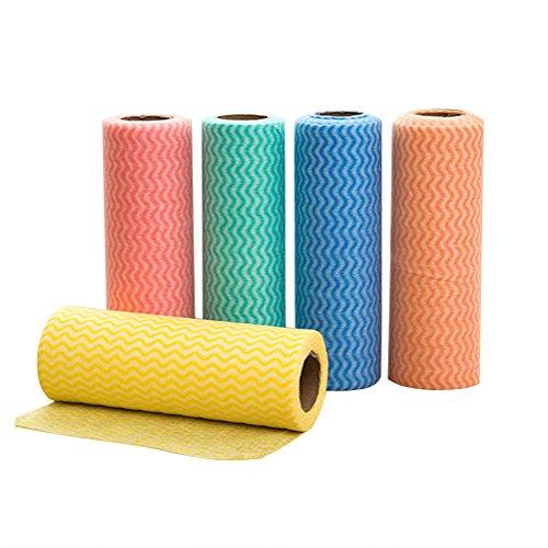 Kuke - Trapos de cocina antiadherentes de fibra de bambú, paños de limpieza de tejido no tejido, 25 unidades por rollo Multicolor