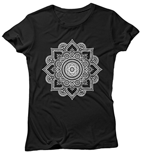 LaMAGLIERIA Camiseta Mujer Mandala White Print Man01 - Camiseta 100% Algodòn, XL, Negro
