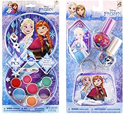 Disney Frozen Beauty Bundles For Kids - 2 Items : Disney Frozen Lip Gloss Kit, Disney Princess Nail Polish Kit