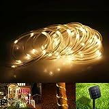 TurnRaise 12 M 100 LED Solar Garten Lichterkette, Wasserdicht IP65 Led Lichtschlauch,Außenlichterkette, LED Lichterketten Für Hochzeit, Party und Weihnachten, Weihnachtsbeleuchtung (Warmweiß)