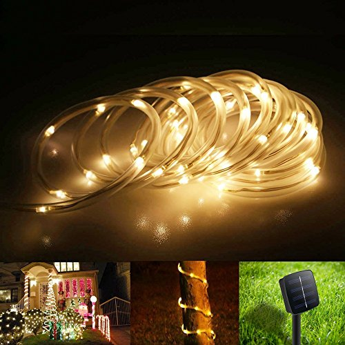 TurnRaise 12 M 100 LED Solar Garten Lichterkette, Wasserdicht IP65 LED Solarlichterkette,Außenlichterkette, LED Lichterketten Für Hochzeit, Party und Weihnachten, Weihnachtsbeleuchtung (Warmweiß)