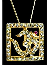 DollsofIndia Gold Plated And Stone Studded Pendant - Om In A Square Frame - Metal (HN87-mod) - Golden, Yellow