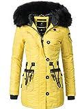 Marikoo Damen Mantel Wintermantel Winterparka Elle (vegan hergestellt) Gelb Gr. M