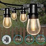 Catene Luminose Solare LED,Bomcosy Luci Esterne a Corda 26,4Ft/8M Impermeabile IP65 Luci Stringa Lampadina con 12 S14 LED Bulbi Decorazione Luminosa, per Partito, all'Aperto, al Coperto, Matrimonio
