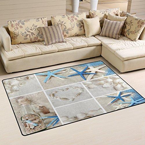 Naanle - Alfombra de Verano, diseño de Estrella de mar y Arena, Antideslizante, para salón, Comedor...