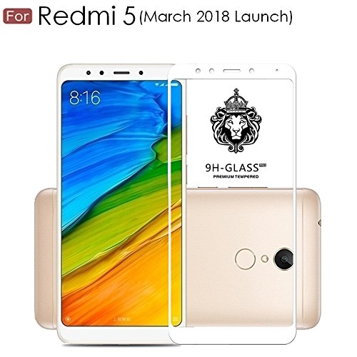 """For REDMI 5 - WOW Imagineâ""""¢ Pro HD+ 9H Hardness 2.5D 0.3mm Antibacterial Toughened FULL BODY Tempered Glass Screen Protector for XIAOMI MI REDMI 5 (March 2018 Launch) - White"""
