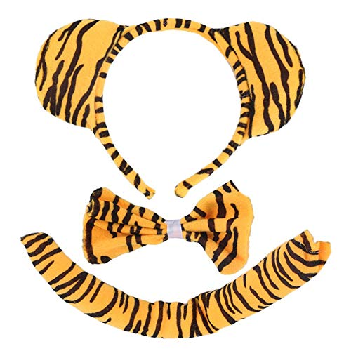 Kinder Tier Zebra/Tiger/Kuh/Grauer Wolf/AFFE Schwanz & Häschen Ohr Stirnband & Fliege 3 Stücke Party Kostüm Weihnachten Maskerade Big Sale (Muster Für Eine Wolf Kostüm)