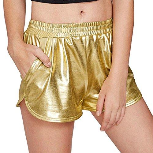 LANSKIRT Mode Frauen Hohe Taille Yoga Sport Hosen Shorts Shiny Metallic Hosen Leggings (XL, Gold) - Frauen Nylon Shorts