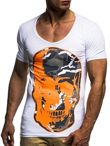 Leif Nelson Herren T-Shirt Shirt Rundhals Sweatshirt Basic Shirt Crew Neck Totenkopf Oversize LN6291 S-XXL; Größe L, Weiss-Orange