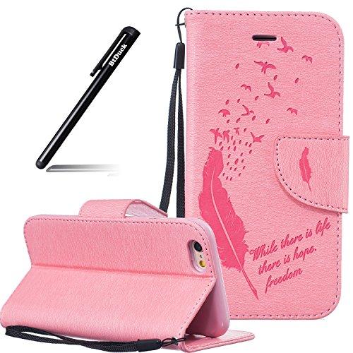 iPhone 8 Flip Case Leder,Ultra Slim Exklusive Echtleder Tasche Handyhülle für iPhone 7,BtDuck 360 Grad Flip Case Vertikal Klappbar aus Echtleder Flip Cover Hülle Lanyard Ledertasche Wallet Bookstyle C #1 Rosa