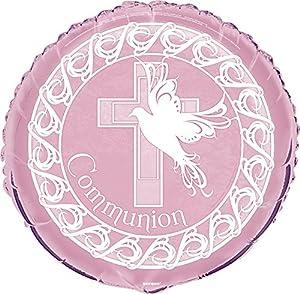 Partido Ênico de 18 pulgadas Foil Paloma Cruz Comunión globo (rosa)