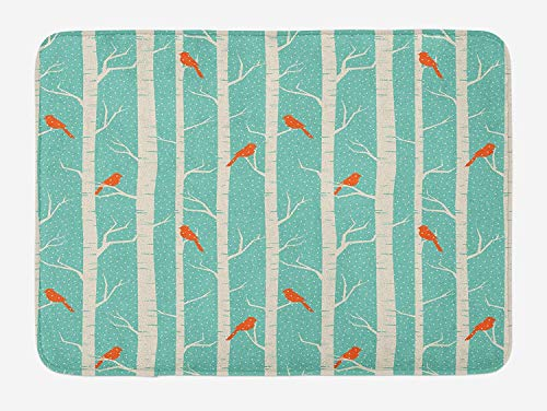 Klotr Fußabtreter, Nature Bath Mat, Dotted Abstract Background Tree and Bird Silhouettes Barren Forest, Plush Bathroom Decor Mat with Non Slip Backing, 40X60 cm, Pale Sea Green Orange Cream