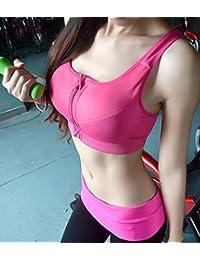 Fitness deportes aeróbicos bra bra la velocidad de funcionamiento en seco sin ropa interior con cremallera de acero de alta resistencia a los golpes sujetador deportivo,Rosa roja,XL