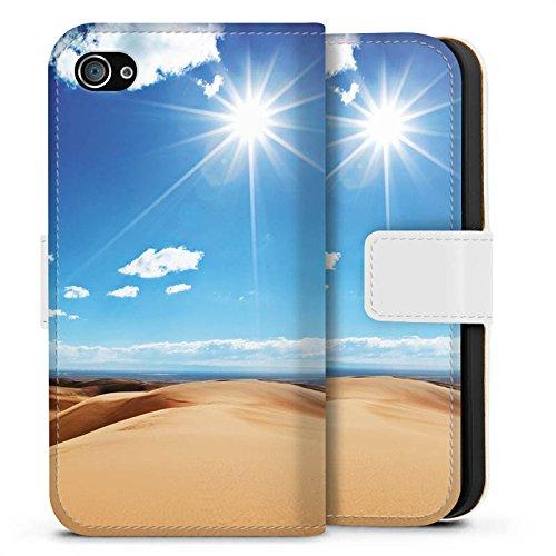 Apple iPhone X Silikon Hülle Case Schutzhülle Wüste Sand Sonne Sideflip Tasche weiß
