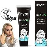 Briyte Black Teeth Whitening Charcoal Toothpaste (Natural Vegan Bamboo Tooth Whitener) No Fluoride - White with Briyte UK Crest