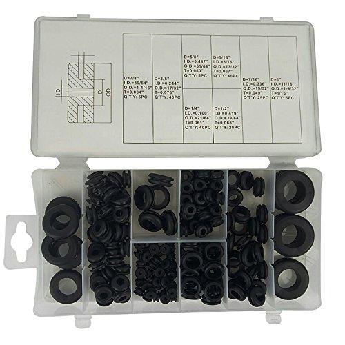 Warmschrumpfschläuche für Drahtzüge schwarz Gummidichtungen, Gummidichtung Ring Sortiment Elektrische Dichtung Werkzeug für Schutz Wires Kabel