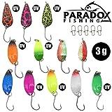 Paradox Fishing Forellen Spoon Set 12 Spoons mit Box und 5 Snaps Forellenköder Set zum Forellen...