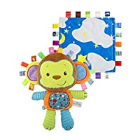 INCHANT Soft Monkey Tag Toy & Security Blanket - Colorful Comforter Taggy Toy Built-in Bell, Soft Toy Best for Baby, Toddler and Child