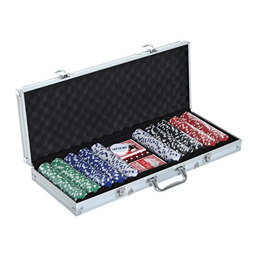 NO.1 BETTING HOMCOM 500PCS POKER CHIP SET CASINO GAMES 2 CARD DECKS, DEALER BUTTON, DICE W/ LOCKABLE ALUMINUM CASE