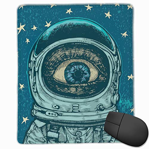 Preisvergleich Produktbild Mouse Mat Stitched Edges,  Amazed Astronaut Giant Surprised Eye Stars Amazing Wonders Of The Universe, Gaming Mouse Pad Non-Slip Rubber Base