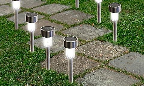 solarek solarek à énergie solaire en acier inoxydable LED Jardin Pelouse Paysage Extérieur LED Argent, Acier inoxydable, 8 Pack 2.00 volts
