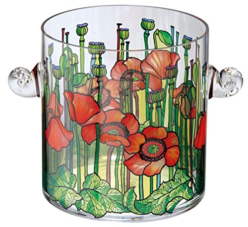 Casa-Padrino Handmade Tiffany Table Wine Cooler with poppy flower motif H 19 cm - finest quality from the Tettau porcelain factory - Champagne Bucket
