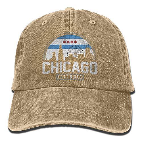 KKAIYA Unisex Chicago City Flag Skyline USA Washed Denim Cotton Baseball Hat Sport Outdoor Adjustable One Size Black (City Sports Newsboy Caps)