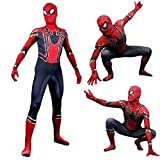 unbrand Bambini Mens Ragazzi Supereroe Spiderman Costume Cosplay Outfit Fancy Dress Party Halloween Nero Rosso