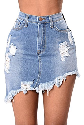 Outgobuy Damen High Waist Distressed Ripped Short Denim Jean Skirt Package Hip Mini kurze Hose (S, Blau) (Jean Distressed Mini)