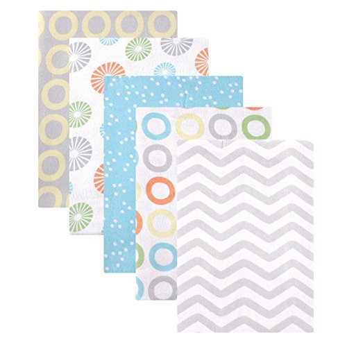 Luvable Friends 5 Pack Flannel Receiving Blanket Yellow Pinwheel