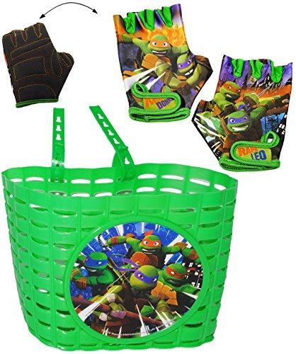 alles-meine.de GmbH 3 TLG. Set _ Fahrradkorb & Fahrradhandschuhe -  Teenage Mutant Ninja Turtles  - Korb mit Befestigung für Lenker vorne - Fahrrad Kinder - Jungen - universal .. (Ninja Turtle Korb)