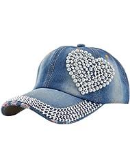 Femmes aiment Cœur Bling bleu denim Jean Sport Baseball Casquette Diamant Perles Décoration