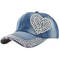shopbibles Mujeres Loving Bling Rhinestone de Corazón Jeans Sport Gorra de golf de béisbol gorro, mujer, Blue 3