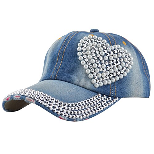 Frauen lieben Herz Bling Blau Denim Jean Sport Baseball Mütze Diamant Perlen...