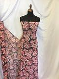 Iana Fabrics Mehrfarbiger Chiffon-Stoff, Blumenmuster, 145