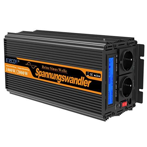 EDECOA Inversor 12v 220v Onda Pura inversor 1000w convertidor de Voltaje 12v 220v Onda Pura...