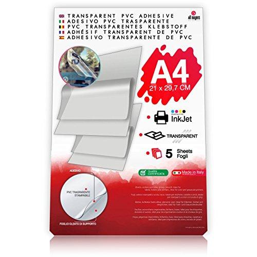 2AINTIMO Carta Adesiva Trasparente per Stampanti Inkjet - 5 Fogli PVC Formato A4 - Etichette e Adesivi Personalizzati