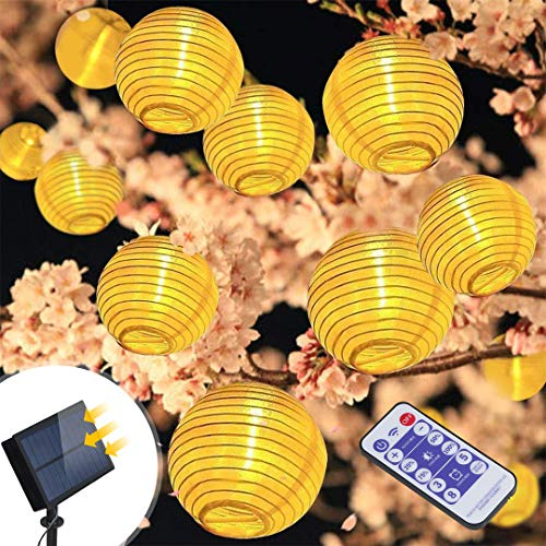 Solar Lichterkette Außen Lampions infinitoo 6M 30er Wasserdicht Warmweiß LED Lampions Laterne Lichterkette mit Fernbedienung Garten Innen und Außenbereich für Party - Laterne Fernbedienung