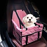 GENORTH® Asiento del Coche de Seguridad para Mascotas Perro Gato Plegable Lavable Viaje Bolsas y otra Mascota Pequeña con Cremallera Bolsillo (Rosa)