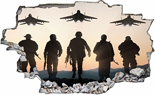 DesFoli Soldat Kampfjet Jet Soldier Armee Army Militär 3D Look Wandtattoo 70 x 115 cm Wand Durchbruch Wandbild Sticker Aufkleber C213