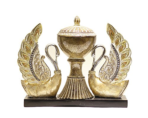 Home Decor Couple Swan (Hansa) showpiece (Polyresin, Gold) (Size in cm - 27*9.5*21.5 (l*b*h))