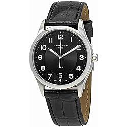 Certina - Reloj Analógico de Cuarzo para Hombre, correa de Cuero color Negro