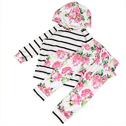 Culater® Bambino appena nato Kid stampa floreale Stripe Top Pantaloni con cappuccio Girl Set (100)