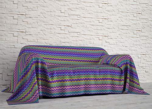 Co.Ingros.Tex Bettlaken Steppdecke Sommer Half Scoop, für Doppelbett, Position Bucht Farbe Lila -