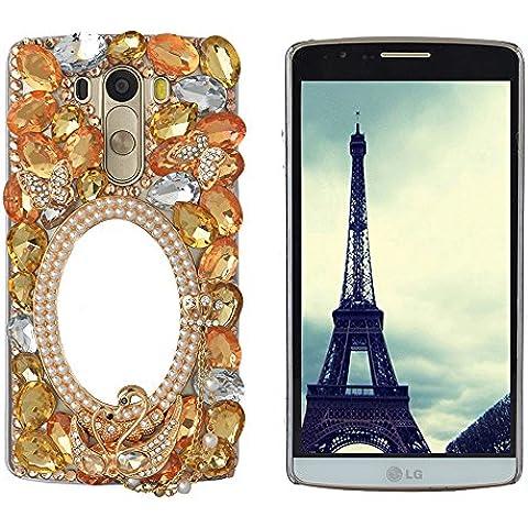 'Spritech (TM) Bling rigida trasparente per cellulare, 3d Handmade Nero Fiore di cristallo Accessary motivo Cellphone Cover, yellow,orange, LG Leon/LG Tribute 2/C40